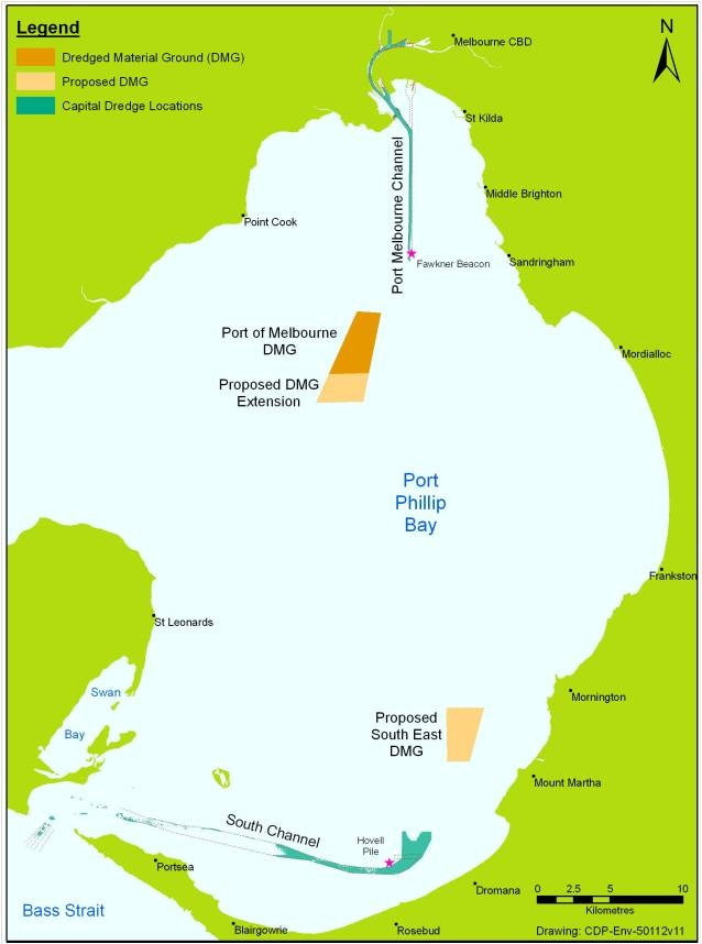 Map of Port Philip Bay with the location of the Port of Melbourne and dredge locations.